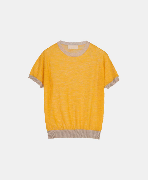 Linen short-sleeved crew neck sweater, yellow