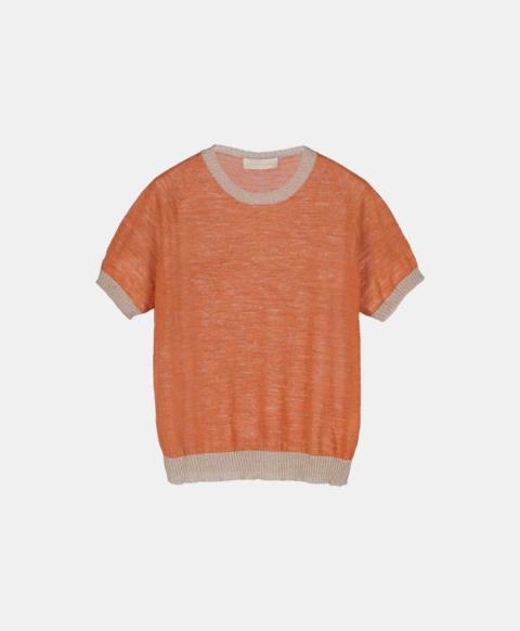 Linen short-sleeved crew neck sweater, orange