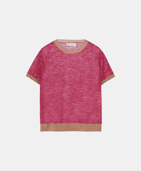 Linen short-sleeved crew neck sweater, strawberry