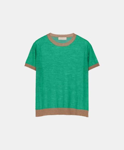 Linen short-sleeved crew neck sweater, green