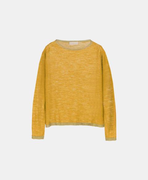 Linen long-sleeved crew neck jersey sweater, yellow