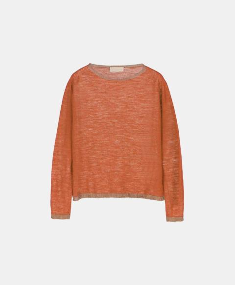 Linen long-sleeved crew neck sweater, orange