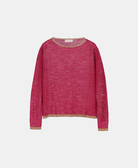 Linen long-sleeved crew neck jersey sweater, strawberry