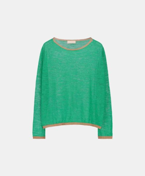 Linen long-sleeved crew neck jersey sweater, green