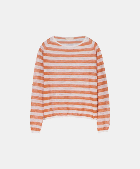 Linen long-sleeved crew neck sweater, cream and orange