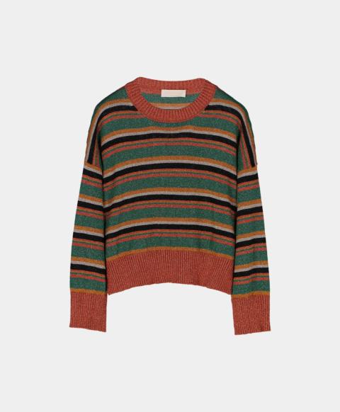 Multicoloured striped lurex crew neck sweater, green