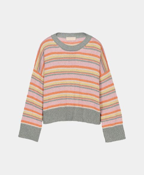 Multicoloured striped lurex crew neck sweater, pink