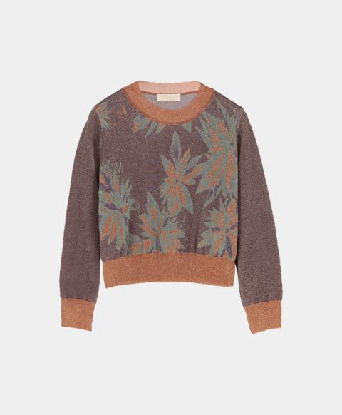 Crew neck sweater in lurex jaquard