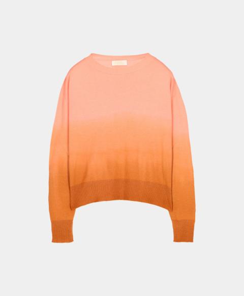 Tie & dye effect long-sleeved crew neck sweater, pink