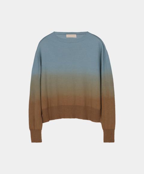Tie & dye effect long-sleeved crew neck sweater, blue