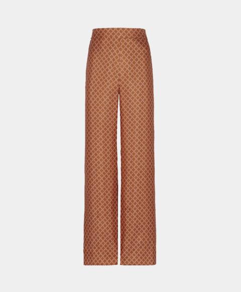 Wide geometric print silk trousers with elastic