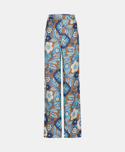 Wide silk flower print trousers with elastic