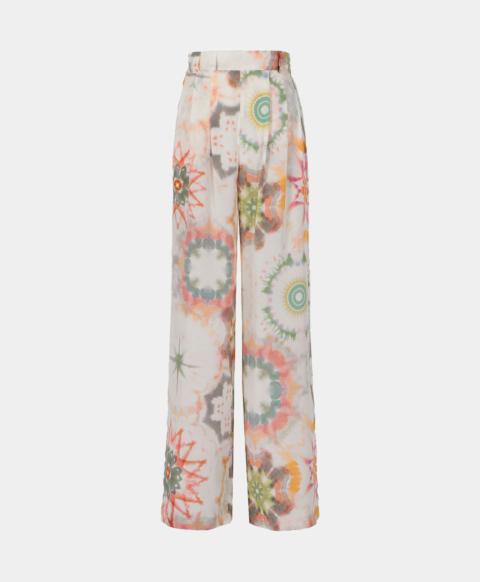 Palazzo trousers in kaleidoscope crepe de chine print