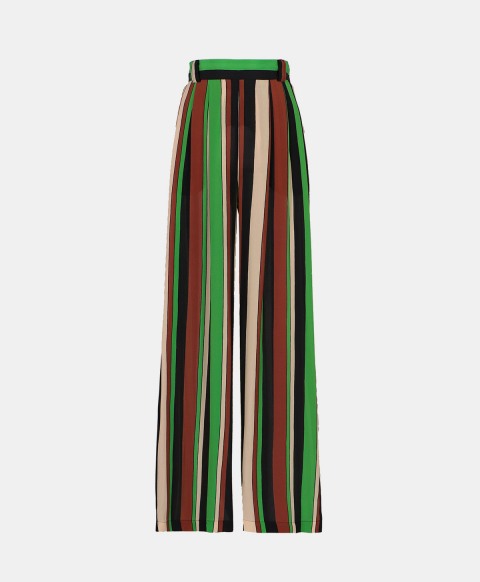 Crepe de chine palazzo trousers with stripes print