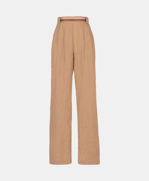 Beige linen palazzo trousers