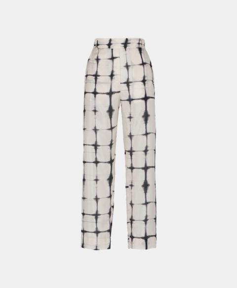 Silk habutai trousers with tie & dye print
