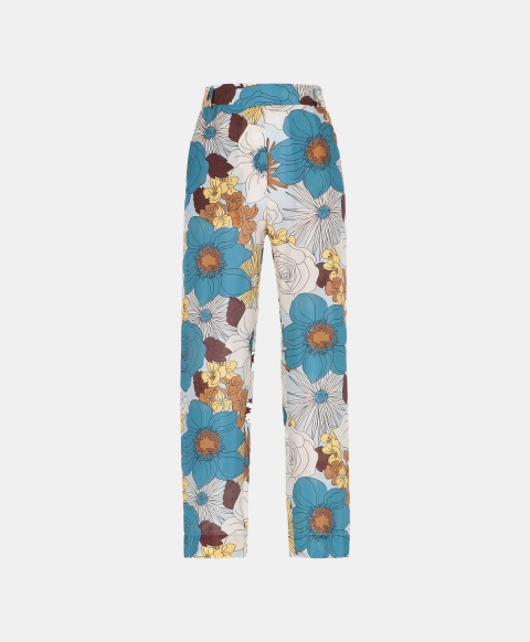 Trousers in silk habutai with 70's flower print