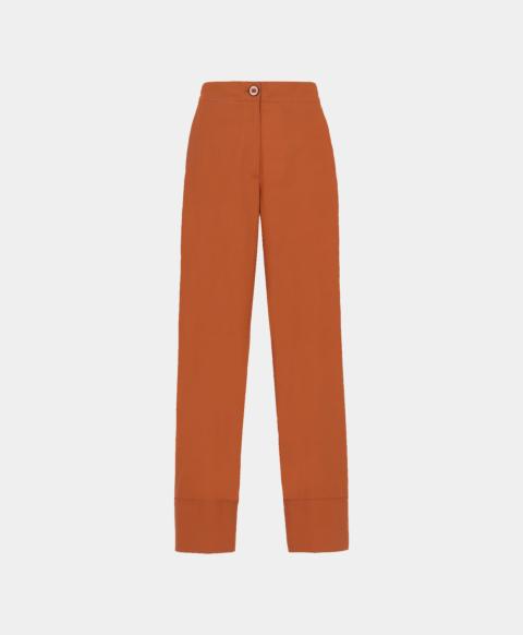 Rust cotton poplin trousers