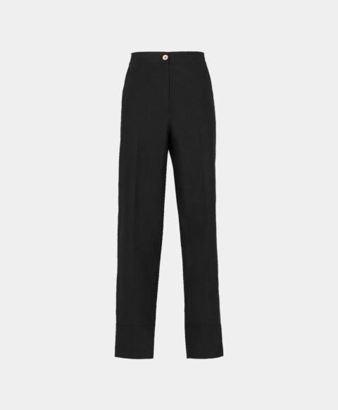 Black cotton poplin trousers