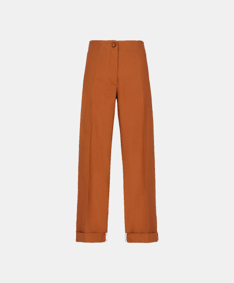 Straight leg burnt trousers with elastic