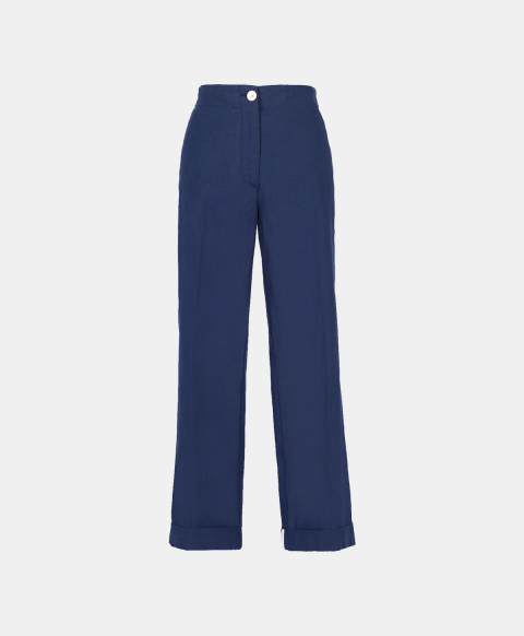 Straight leg blue trousers with elastic band