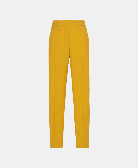 Slim fit trousers with elastic in cool yellow wool