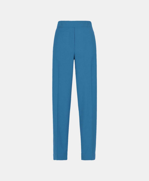 Slim fit trousers with elastic in cool blue wool