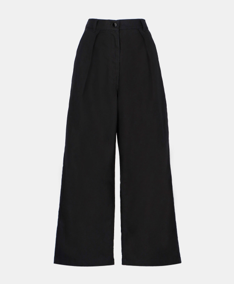 Black cotton linen high waisted trousers with pleats