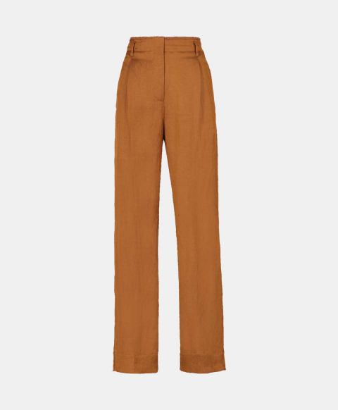 Viscose linen high-waisted trousers, tobacco
