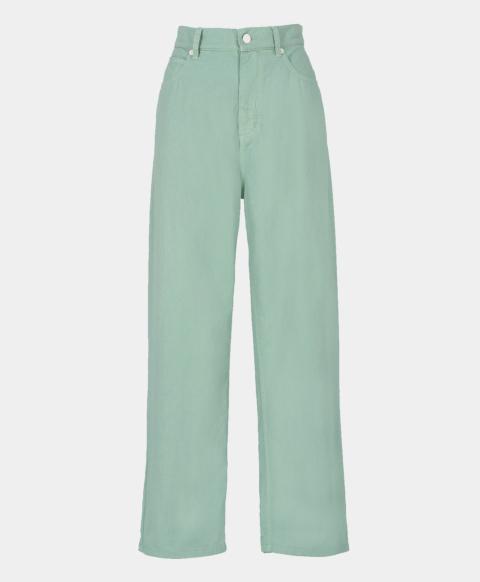 Acqua green cotton gabardine five pocket jeans