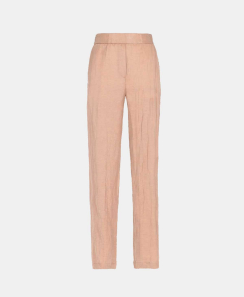 Powder viscose linen slim-fit trousers with elastic