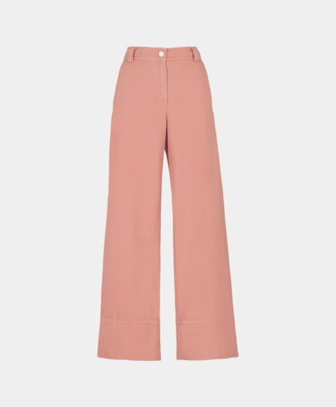 High-waisted cotton gabardine pant, pink