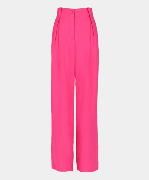 High-waisted cady stretch trousers, fuchsia