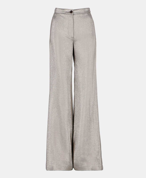 Flared pant in silver lurex fabric