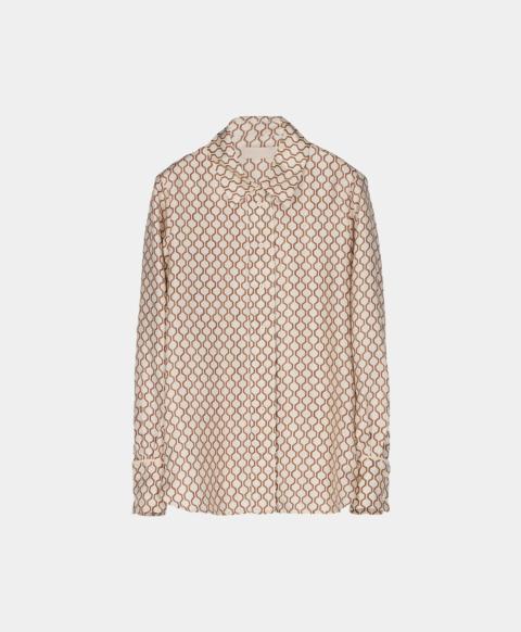 Geometric print silk shirt, cream
