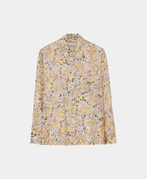Crepe de chine shirt with yellow pinwheel print