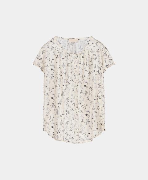 Sleeveless shirt in silk habutai with flower print