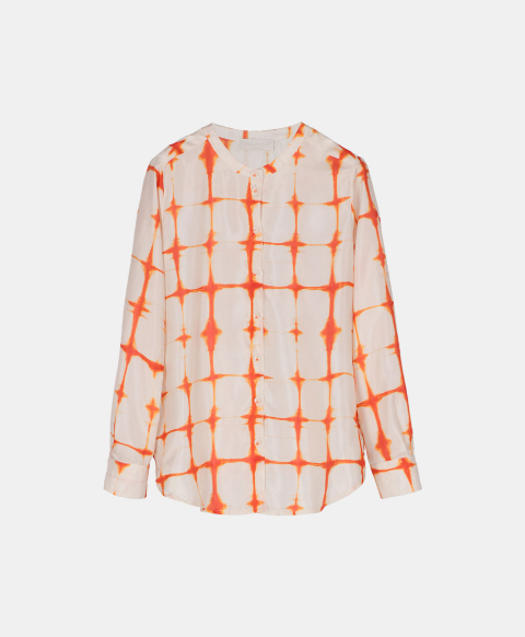 Orange tie & dye print silk habutai shirt