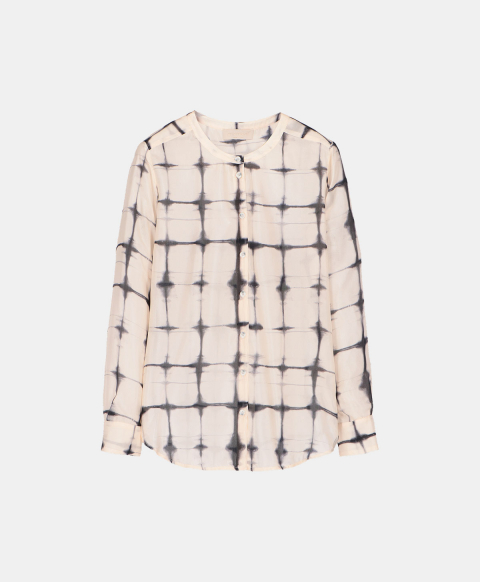 Black tie & dye print silk habutai shirt