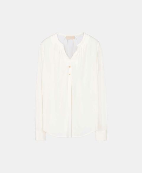 Cream silk blend blouse