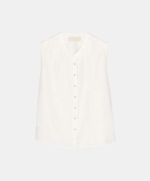 Sleeveless cream cotton silk shirt