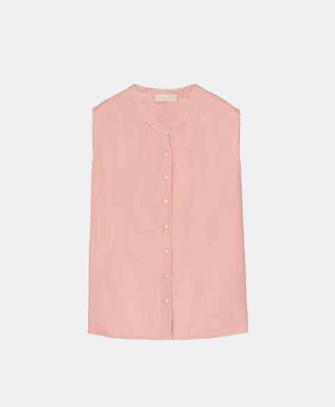 Sleeveless powder cotton silk shirt