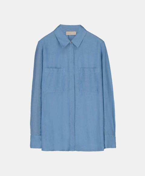 Blue cotton silk shirt