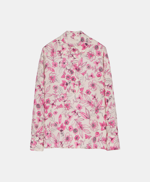 Crepe de chine blouse with pink watercolour print