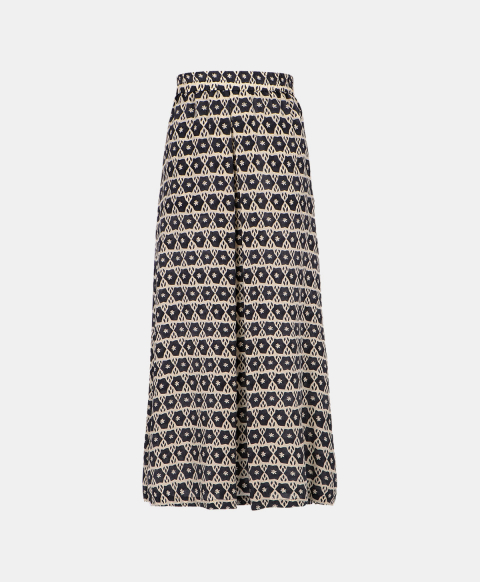 Long printed silk skirt with elastic