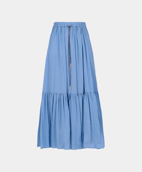Long flounced skirt in light blue cotton silk