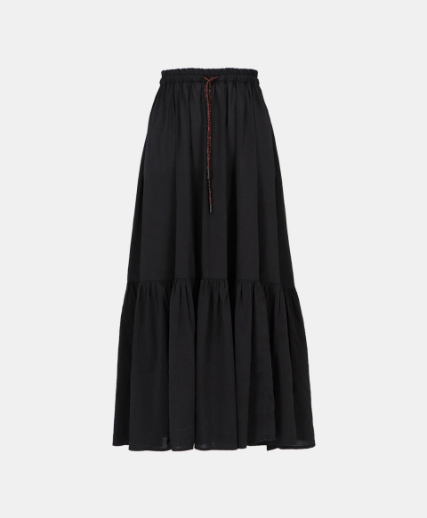 Long flounced skirt in black cotton silk