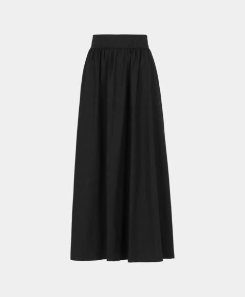 Gathered skirt in black cotton poplin