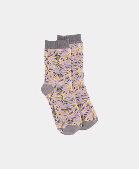 Cotton blend jacquard socks with yellow pinwheel print