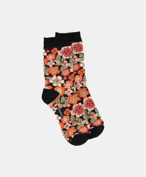 Cotton blend jacquard socks with 70's flower print